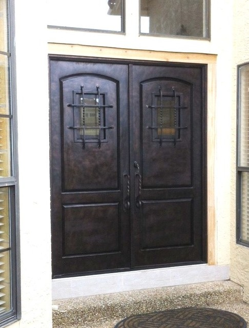 Wrought iron doors rustic front doors austin by for Exterior doors austin tx