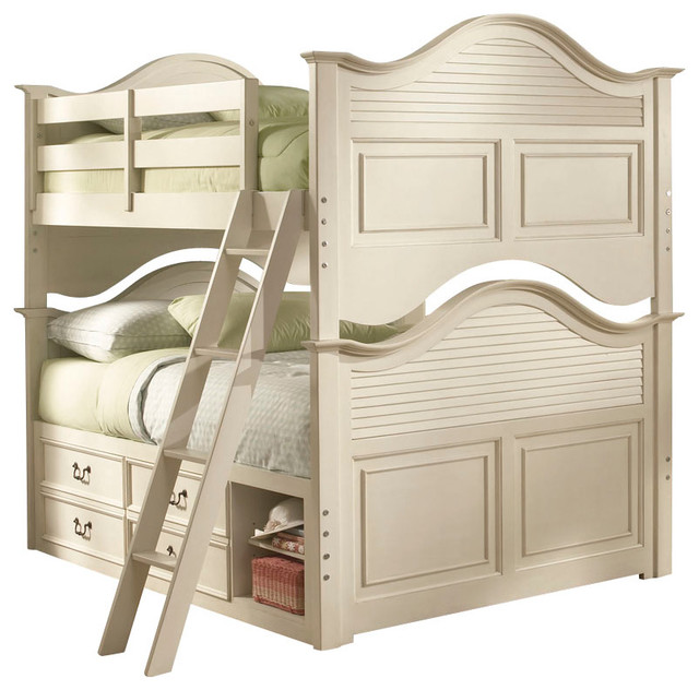 Lea Retreat White 2-Piece Bunk Bed Kids' Bedroom Set in Antique White traditional-kids-products