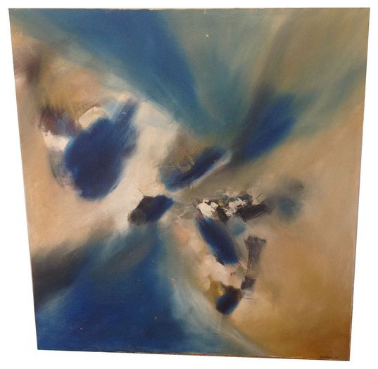 SOLD OUT!  Abstract Blue and Beige Oil Painting - Signed - $1,200 Est. Retail - contemporary-wall-decor