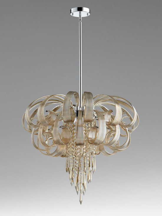 """Lighting - A bit Art-Deco, this elegant chandelier pairs layers of """"ribbon"""" curls with a rain of glass beading to create jewelry for your ceiling."""