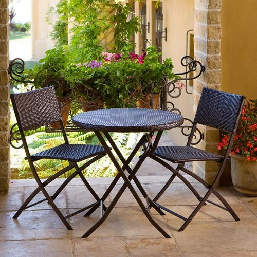 RST Outdoor All-Weather Woven Wicker Bistro Set modern-home-fencing-and-gates