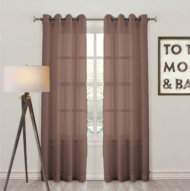 Montauk Sheer Check Eyelet Curtain Panel Chocolate Modern Curtains Melbourne By Quickfit