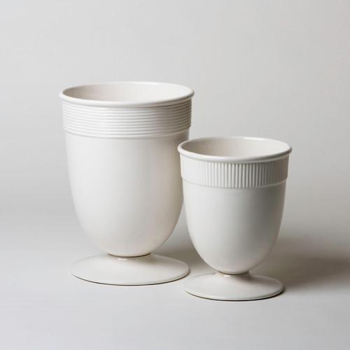 Global Views Small Banded Ceramic Vase in White BB