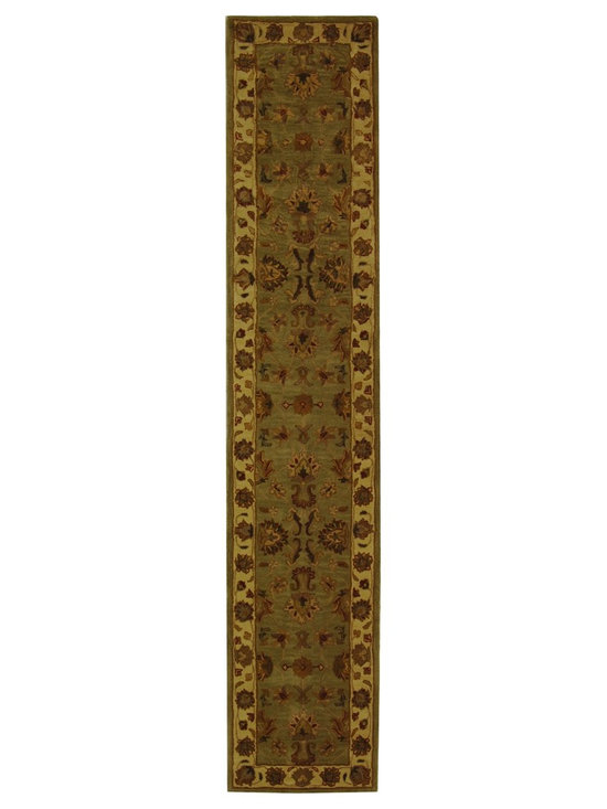 Safavieh - Safavieh Handmade Heritage Kerman Green/ Gold Wool Runner (2'3 x 12') - This hand-tufted Kerman rug is a perfect fit for any decor100-percent wool pile provides a comfortable and soft rugCotton canvas backing adds to the durability of your rug
