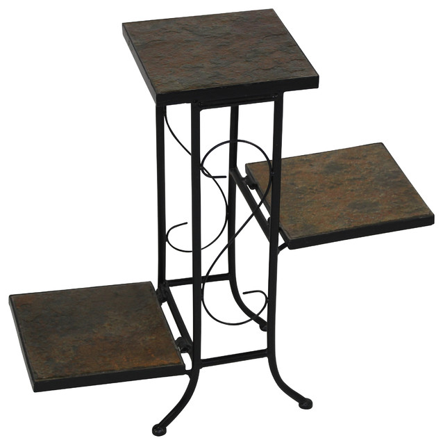 4d concepts 3 tier plant stand with slate top in black Plant stands for indoors