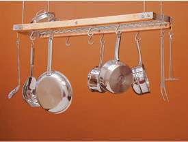 Wood and Chrome Hanging Pot Rack pot-racks