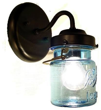Antique Farmhouse Wall Sconces : Vintage Blue Mason Jar Sconce Light, Antique Black - Farmhouse - Wall Sconces - by The Lamp Goods