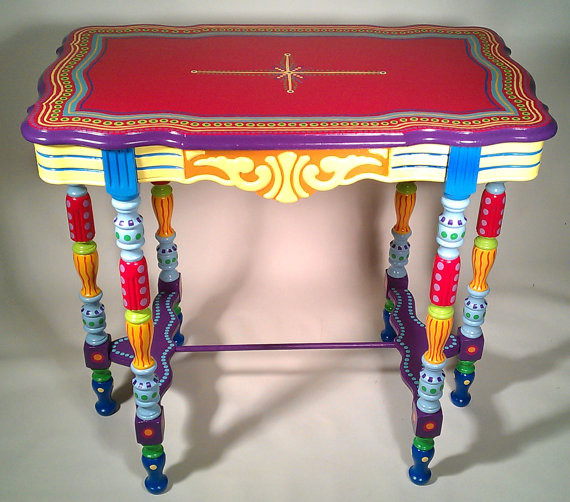 Hand painted furniture side table or accent table side for Hand painted furniture