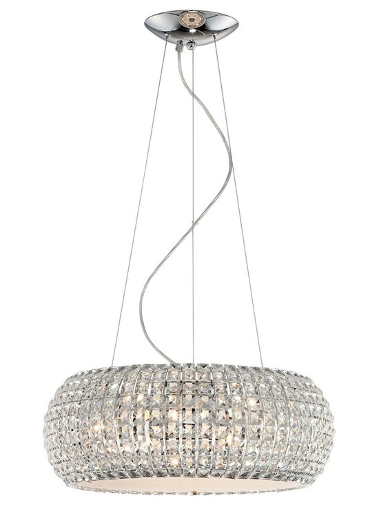 "Possini Euro Design - Possini Euro Contour Crystal and Chrome Pendant Light - A pendant light with pure sparkle and a graceful modern form alive with glittering clear glass crystal. The round chrome finish frame and nine xenon bulbs illuminate this pendant with wonderful prismatic light effects. Includes nine 40 watt G9 xenon bulbs. Canopy is 7 1/4"" wide and 1 1/2"" deep. Includes 11' of adjustable wire. Shade is 20"" wide and 7.5"" high. Hang weight of 21 lbs.  Includes nine 40 watt G9 xenon bulbs.   Canopy is 7 1/4"" wide and 1 1/2"" deep.   Includes 11' of adjustable hanging wires.   Shade is 20"" wide and 7.5"" high.   Hang weight of 21 lbs."