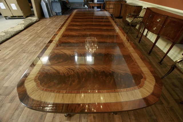 Extra large and long mahogany dining room table with 3 Huge dining room table
