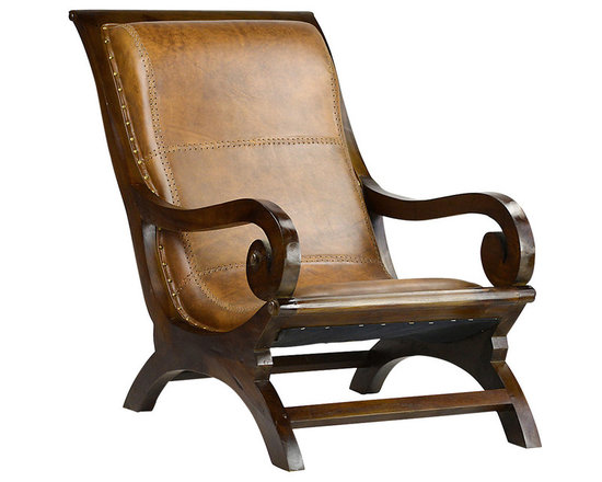 Lazy Chair - This lazy chair is an exceptional, eye-catching design for resting and relaxing. Gorgeous full grain leather upholstery is accented to perfection by antiqued brass nailhead trim and stitched details. Elegantly scrolled arms echo the arched base. This relaxed lazy chair is available in two finishes: a lighter sealed antique brown or a rich sealed dark brown. This chair's solid teak frame gives strength and support and makes it a great addition to the living room or sun porch.