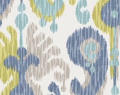 Blue & Green Giant Ikat Linen Fabric contemporary-upholstery-fabric