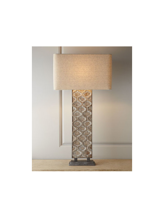 "Regina-Andrew Design - Regina-Andrew Design Carved Panel Table Lamp - Distinctive table lamp features a carved ogee design to add geometric interest to room lighting. Made of wood and metal. Linen shade. 9.5"" polished brass harp. Three-way switch; uses one 150-watt bulb. 18""W x 10""D x 35.5""T. Imported."
