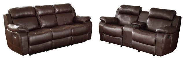 Homelegance Marille 2-Piece Reclining Living Room Set in Brown Leather traditional-sectional-sofas