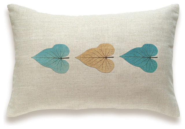Decorative Black Lumbar Pillow : Leaf Print Decorative Lumbar Pillow Cover 12x18 inch HOJA DESIGN