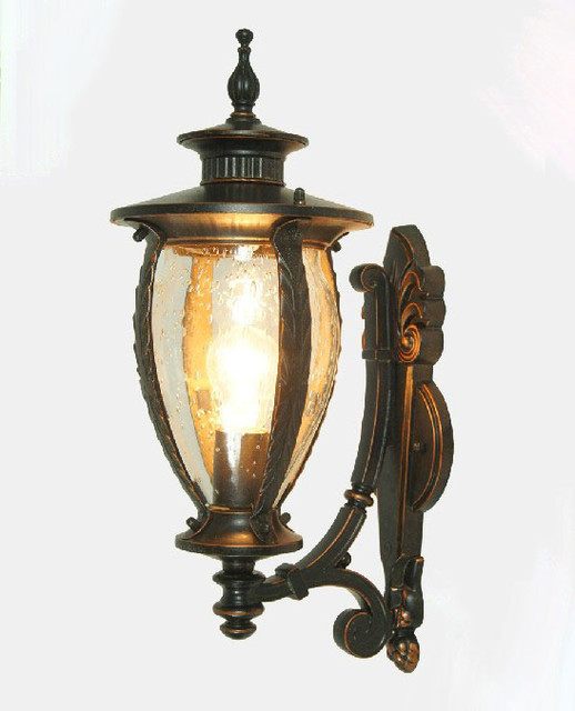 Wall Sconces Nyc: Outdoor 0508 Clear And Amber Bubble Glass Wall Sconce
