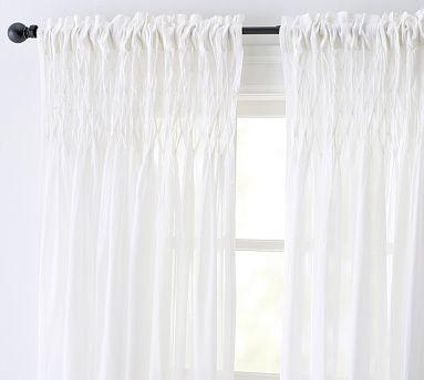 smocked cotton voile pole pocket drape 42 x 84 white