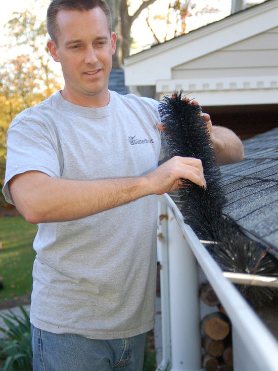 GutterBrush Installation - Easy installation.  Do it yourself or get help from any home service contractor, friend or neighbor with a ladder. No tools required.
