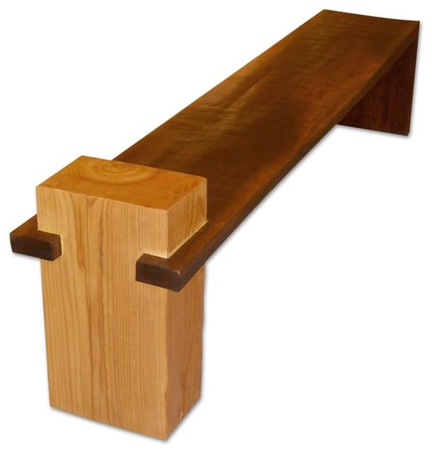 Contemporary garden bench made of bamboo