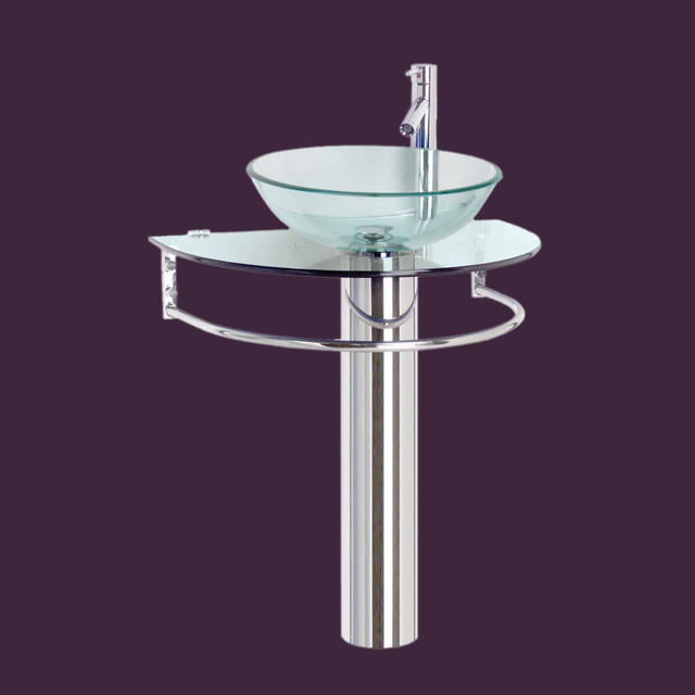 stainless demi lune glass pedestal sink contemporary bathroom sinks