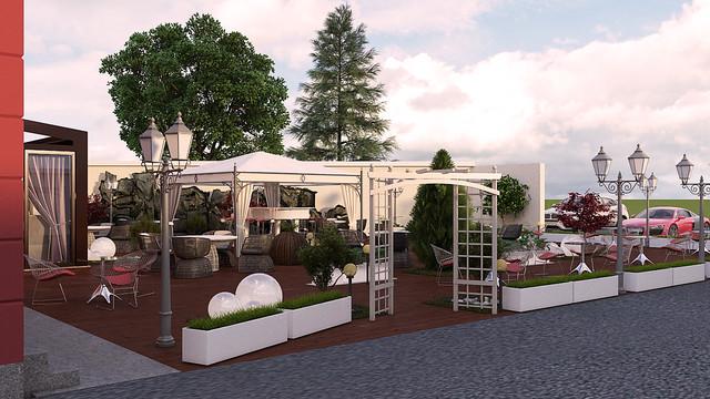 restaurant garden exterior design concept modern rendering other
