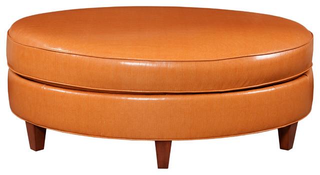 Raegan Oval Ottoman Orange Traditional Footstools