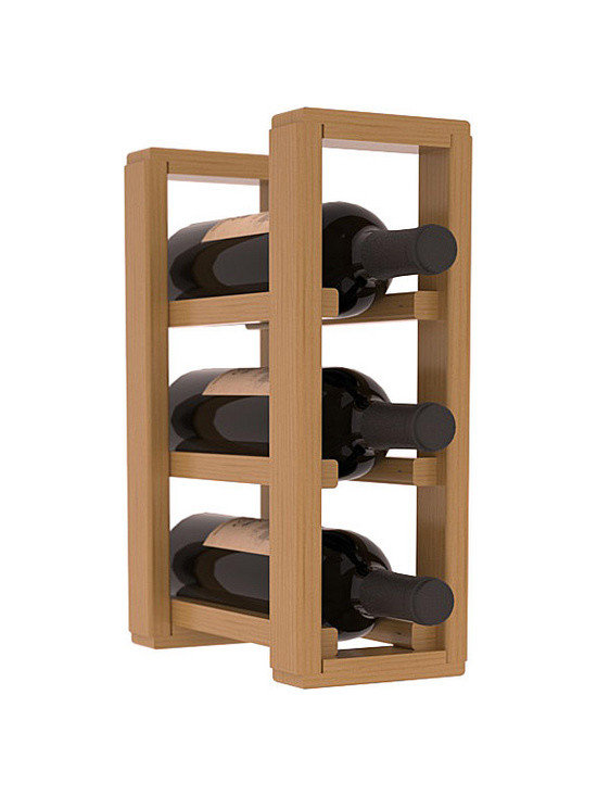 Wine Racks America® - 3 Bottle Counter Top/Pantry Wine Rack in Pine, Oak Stain + Satin Finish - These counter top wine racks are ideal for any pantry or kitchen setting.  These wine racks are also great for maximizing odd-sized/unused storage space.  They are available in furniture grade Ponderosa Pine, or Premium Redwood along with optional 6 stains and satin finish.  With 1-10 columns available, these racks will accommodate most any space!!