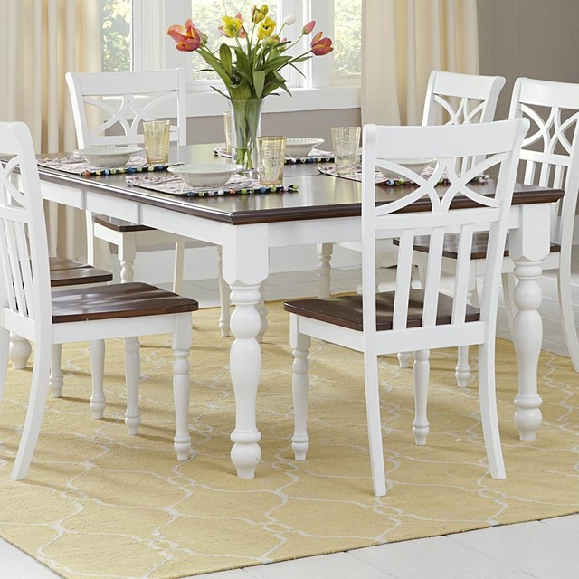 Homelegance Sanibel Extension Dining Table in White & Warm Cherry contemporary-dining-tables