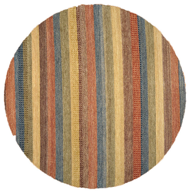Pasargad Ny Persian Hand Knotted Wool Light Blue Ivory: Striped Gabbeh Round Rug, 8X8 Hand Knotted 100% Wool