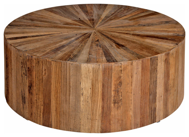 Cyrano Reclaimed Wood  Round Drum Modern Eco Coffee Table rustic-coffee-tables