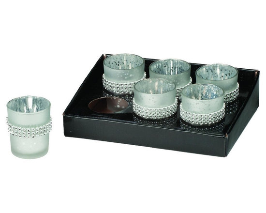 Set of Six Flecked Silver Glass Votive Cups with Beaded Decoration, Home Decor -