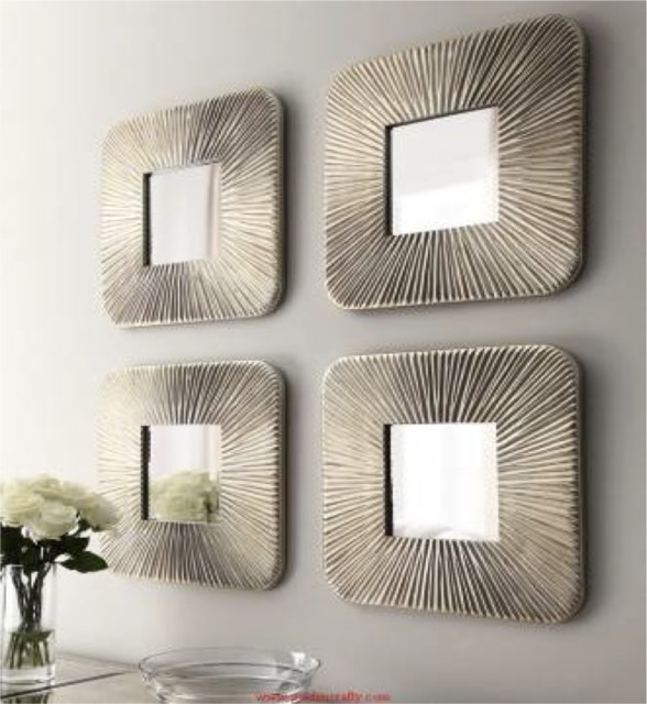 Silver Mirror Set - 4 Piece Set - Contemporary - Wall ...