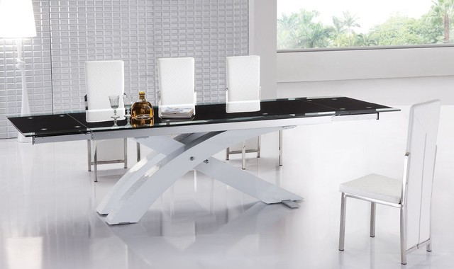 Extendable Glass Top Modern Furniture Table Set Modern Dining Tables