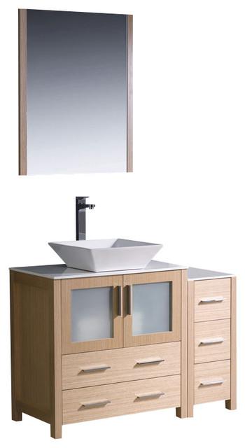 """Fresca Torino Bathroom Vanity w/ Vessel Sink, Light Oak, 42"""", Single Sink - Contemporary ..."""