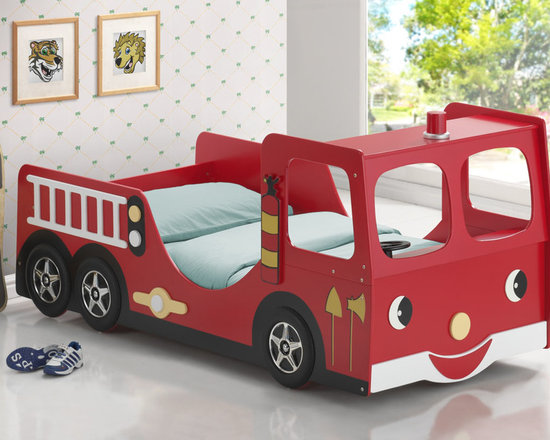 Youth  Beds - The Fire Truck Twin Bed will be a delightful addition to your child's space. Built with your child's safety in mind, this bed is made of solid birch and veneer and made low to the ground. Finished in bright red with coordinating black, white and yellow to help create a real fire truck experience with a front cab unit a steering wheel, tires all adorned with a smiling face for your little fireman. Add this item for your child's space today!