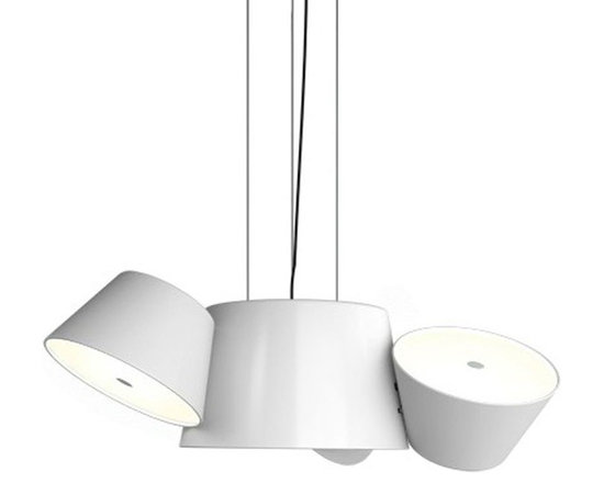Marset - Tam Tam Mini Pendant - Tam Tam Mini Pendant consists of a central shade made of lacquered aluminum in Black or White with three satellite shades which can be rotated 360 degrees by means of a swivel mechanism. An opalescent, methacrylate bottom diffuser softens the light. Five 40 watt, 120 volt G16.5 type candelabra base incandescent bulbs are required, but not included. Compact fluorescent or LED equivalent lamping can be used. 22.6 inch width x 10.2 inch height x 96 inch maximum length.