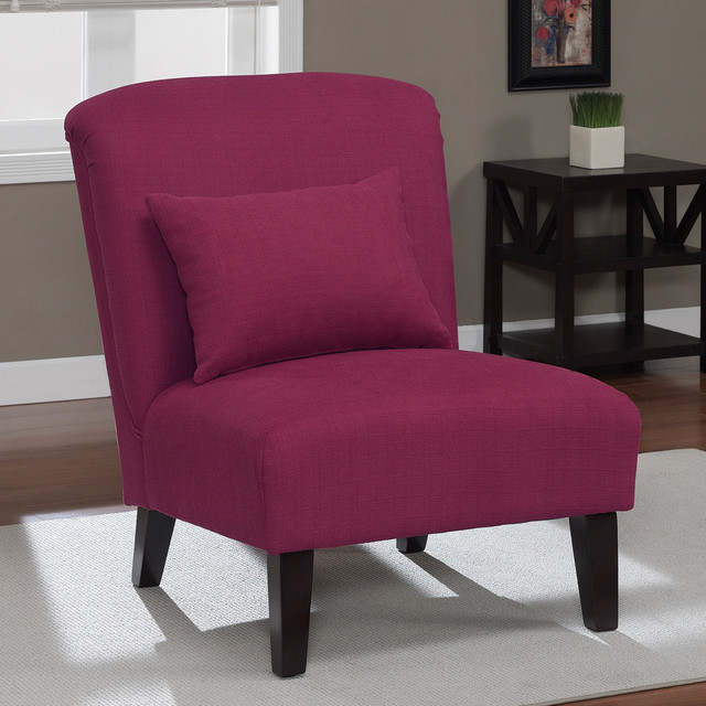 Anna Raspberry Accent Chair Contemporary Armchairs And
