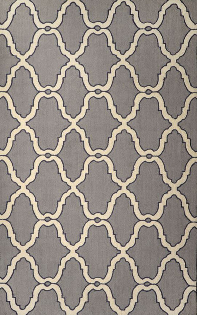 Contemporary Transitional 5' x 8' Grey Hand Hooked Area Rug Hawa Moroccan Trelli contemporary-area-rugs