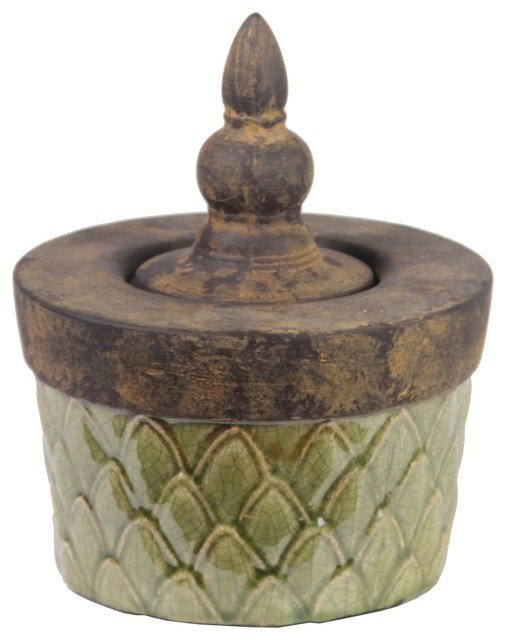 Privilege Small Green Lidded Ceramic Box contemporary-storage-bins-and-boxes