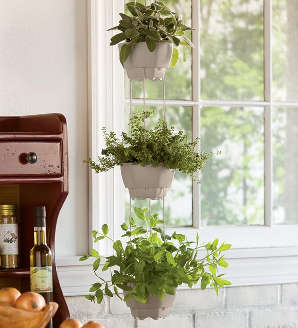 3 Pot Self Watering Hanging Herb Planter Contemporary
