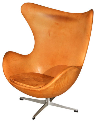 Leather egg chair contemporary armchairs and accent chairs new york - Second hand egg chair ...