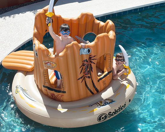 """Pirate Castle Inflatable - This 82"""" round island includes an inflatable ramp, three inflatable shield, three inflatable swords, and all the fun you can plunder. With inflatable walls and a sturdy base your kids will have fun all summer whether defending or attacking this nautical fortress."""