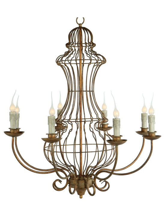 Aidan Gray The Genie Urn Chandelier - Designed from our most popular garden wire shape, this gold leafed chandelier is the perfect blend of garden architecture and elegant dining.