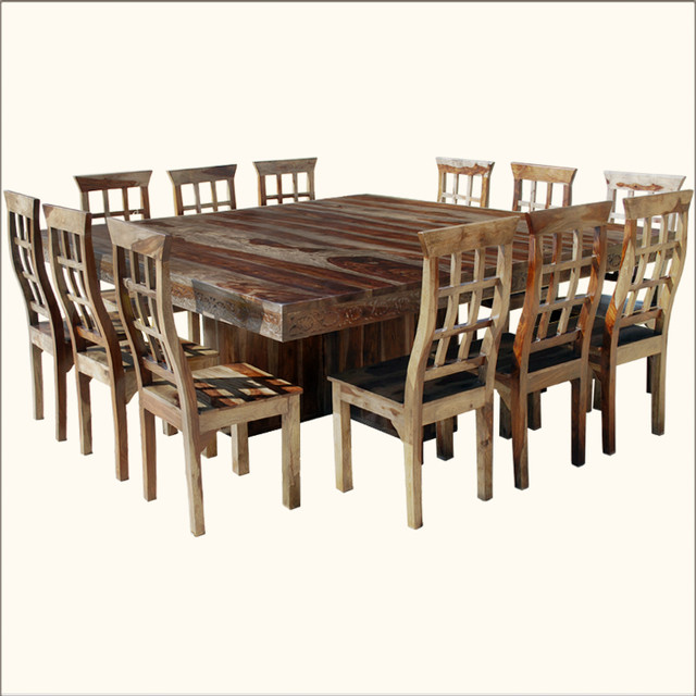 Dallas 13pc square pedestal large dining table chair set for 12 transitional dining sets - Pedestal kitchen table set ...