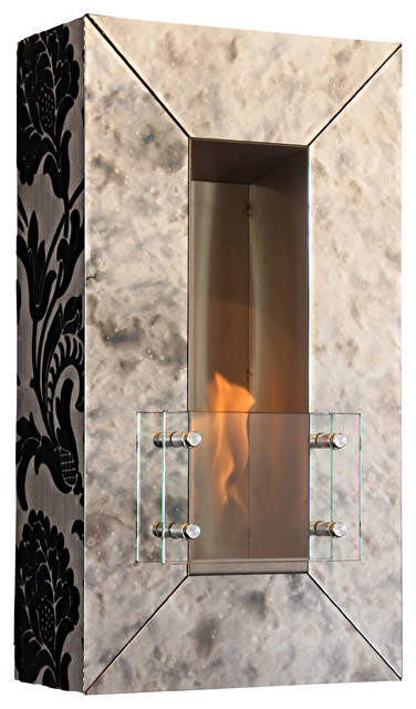 Vintage Aged Mirror Wall Fireplace, Ebony Finish contemporary-fireplaces