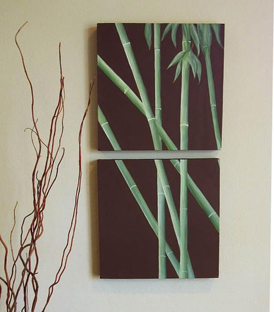 Bamboo Still Life 2 Panel Canvas Painting asian-artwork