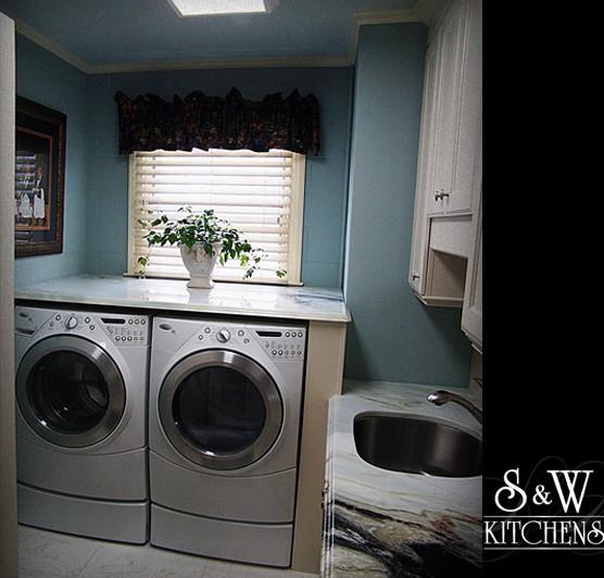 Stylish 1940's White Kitchen traditional-laundry-room