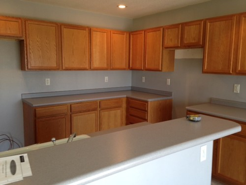 Kitchen wall colors with honey oak cabinets - Blue Gray Kitchen Nightmare