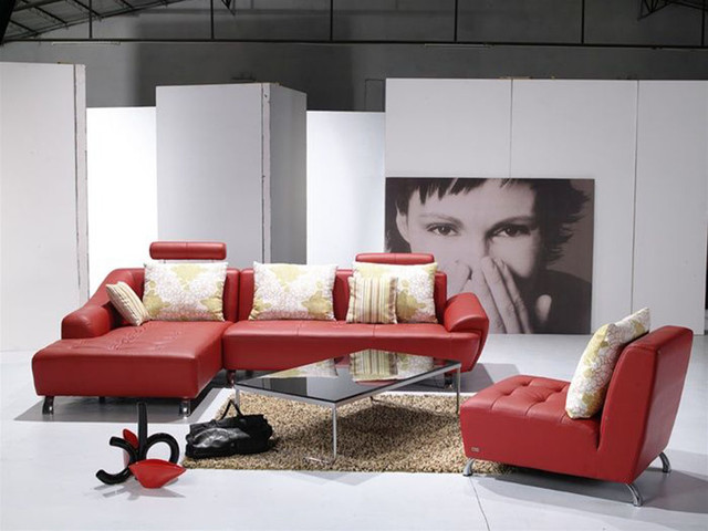 Contemporary Full Leather Corner Couch contemporary-sectional-sofas