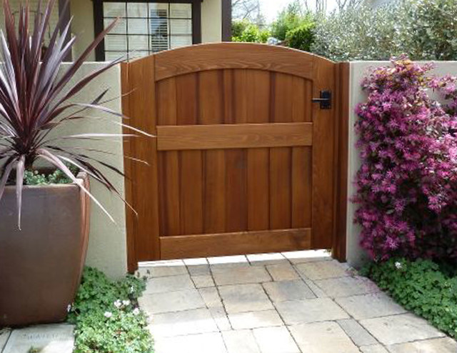 Garden Wooden Gate Archtop Attached To Stucco Wall Using Clear Cedar Jambs